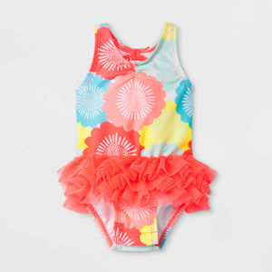 Baby Girl Ruffle Floral One Piece Swimsuit